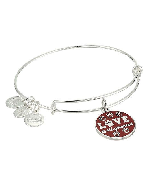 ALEX AND ANI - Metallic Words Are Powerful Love Is All You Need Bangle (shiny Silver) Bracelet - Lyst