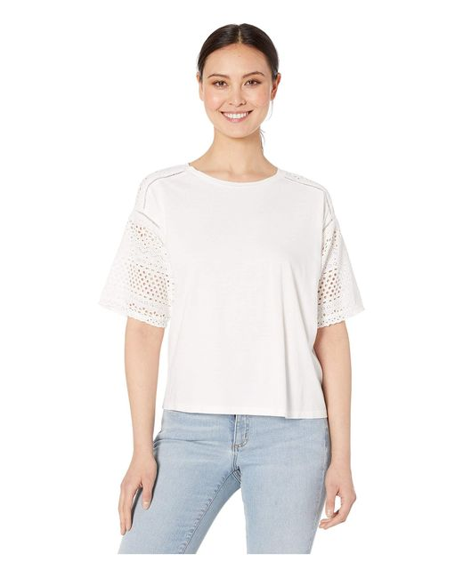 Lauren by Ralph Lauren White Petite Eyelet-sleeve Cotton-blend Top
