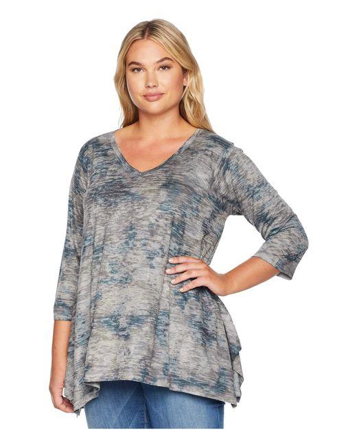 Nally & Millie - Gray Plus Size Burnout Floral Print Tunic (multi) Women's Blouse - Lyst