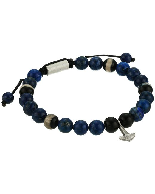Steve Madden - Glass Bead With Anchor Charm Bracelet (blue) Bracelet for Men - Lyst