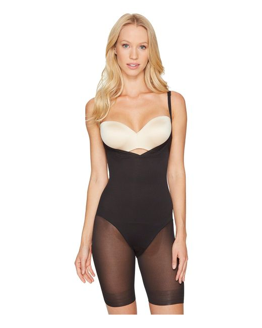 Miraclesuit - Extra Firm Sheer Shaping Open Bust Mid-thigh Slimmer (black) Women's Underwear - Lyst
