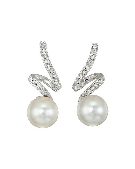 Swarovski - Multicolor Gabriella Pearl Pierced Earrings (rhodium Plating/white) Earring - Lyst