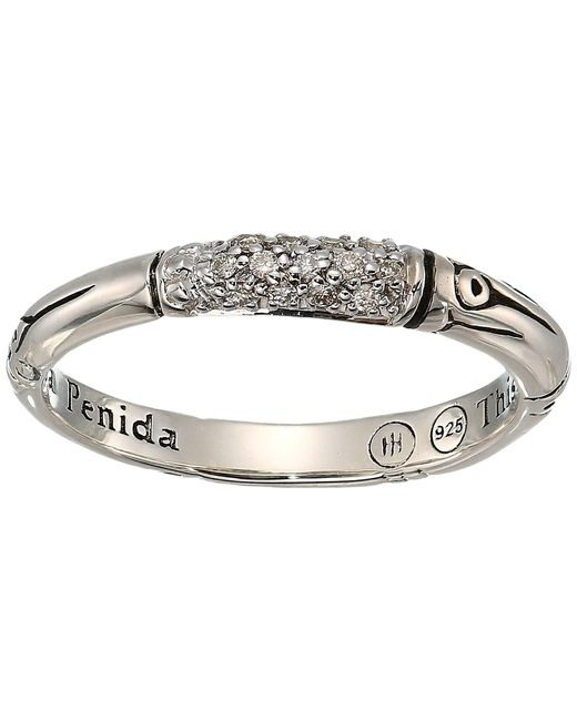 John Hardy - Metallic Bamboo Diamond Pave Slim Ring (silver) Ring - Lyst