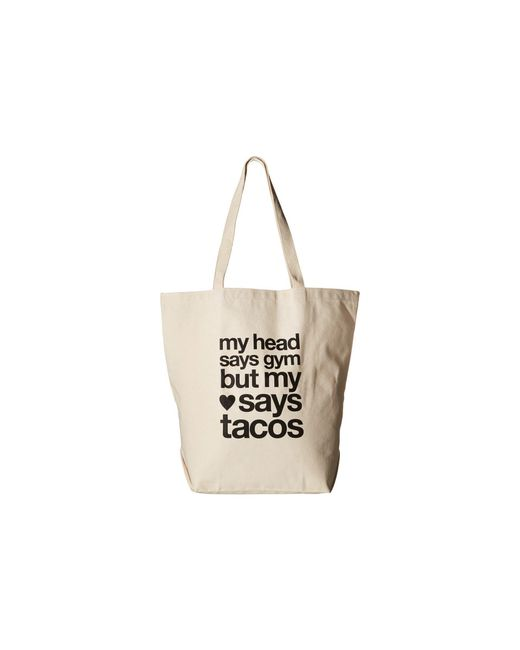Dogeared - White My Head Says Gym Tote - Lyst