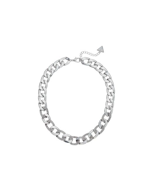 """Guess - Metallic S Chain Link Necklace Pave Accents 16"""" 2"""" Extender - Lyst"""