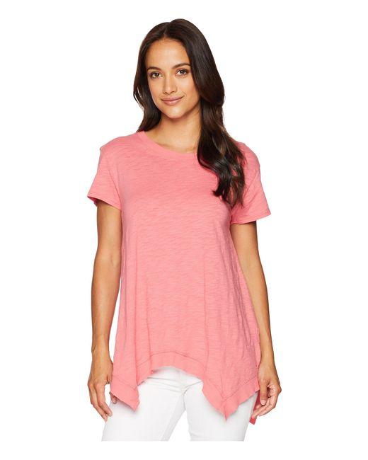 Dylan By True Grit - Soft Slub Hanky Hem Short Sleeve Tee (baja Red) Women's T Shirt - Lyst