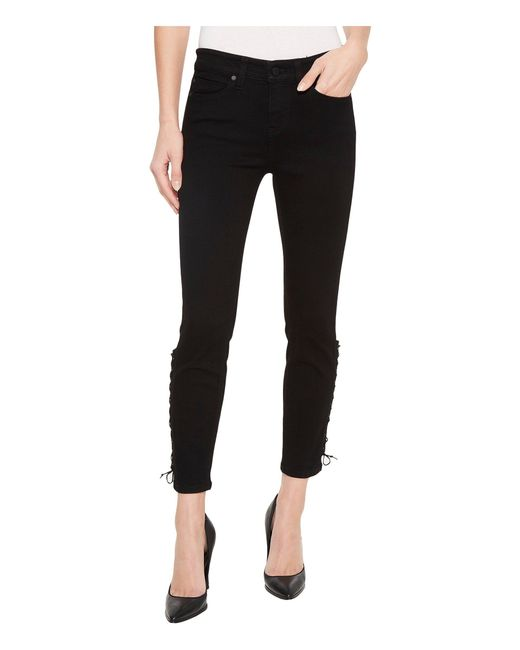 Liverpool Jeans Company - Alyssa Crop With Side Ankle Lace-up In Stretch Denim In Black Rinse - Lyst