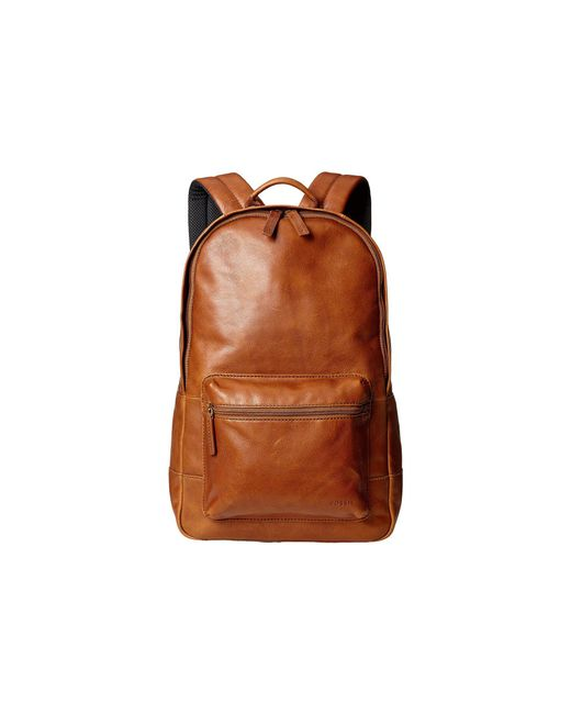 Fossil - Brown Estate Leather Backpack for Men - Lyst
