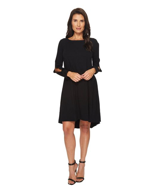 Mod-o-doc - Black Cotton Modal Spandex Jersey Split Sleeve Swing Dress With Lace Trim - Lyst