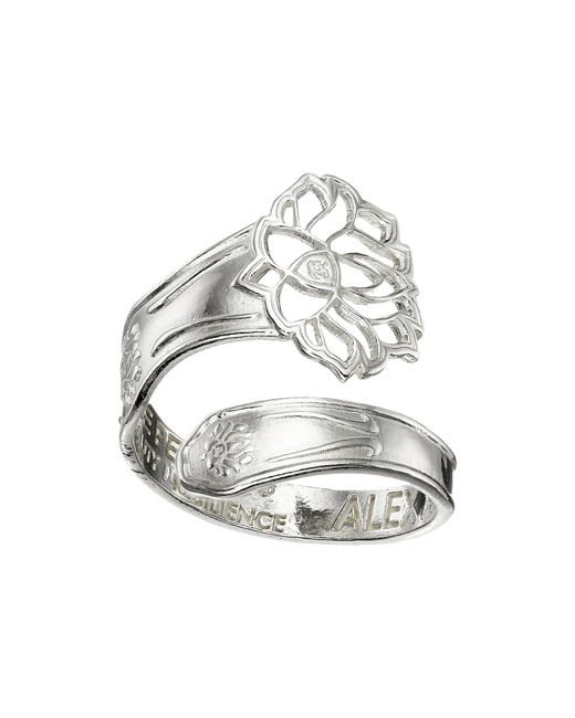ALEX AND ANI - Metallic Spoon Ring (silver Lotus Peace Petals) Ring - Lyst