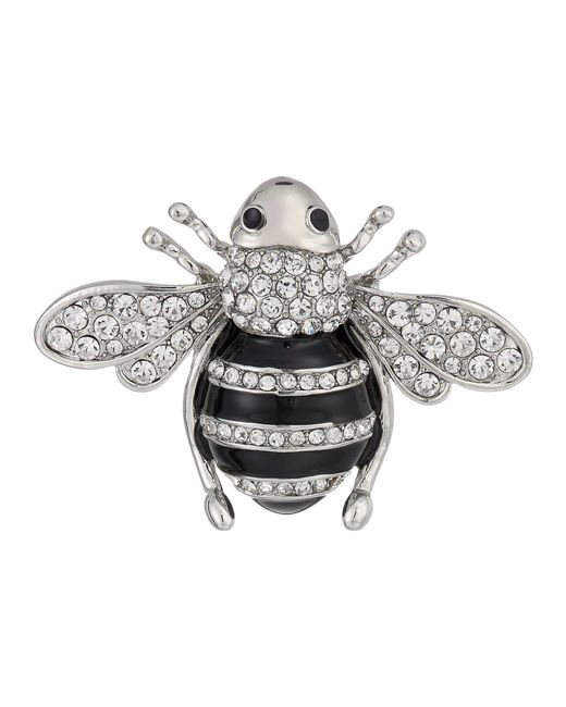 Nina - Multicolor Enamelled Honey Bee Brooch (rhodium/white Cz) Brooches Pins - Lyst