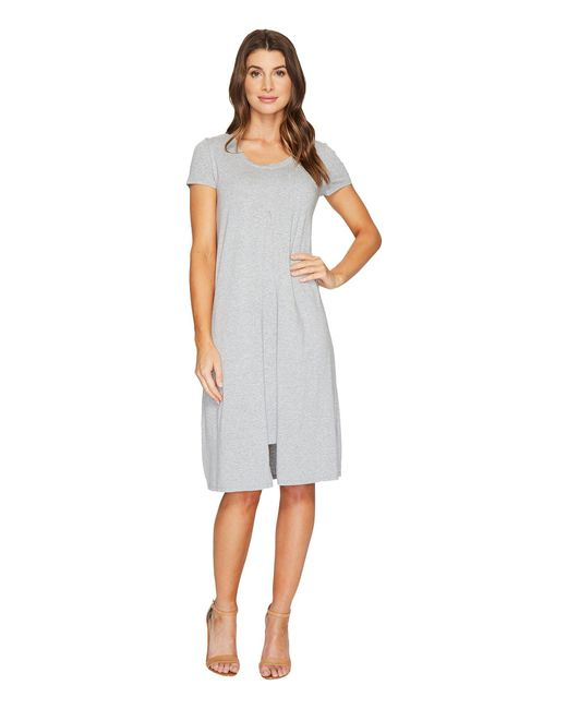 Mod-o-doc | Gray Cotton Modal Spandex Jersey Short Sleeve Flyaway Layered T-shirt Dress | Lyst