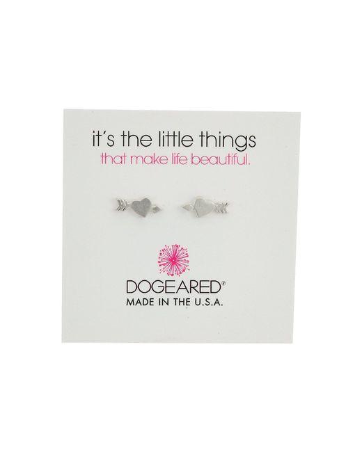 Dogeared - Metallic It's The Little Thing: Heart With Arrow Earrings (sterling Silver) Earring - Lyst
