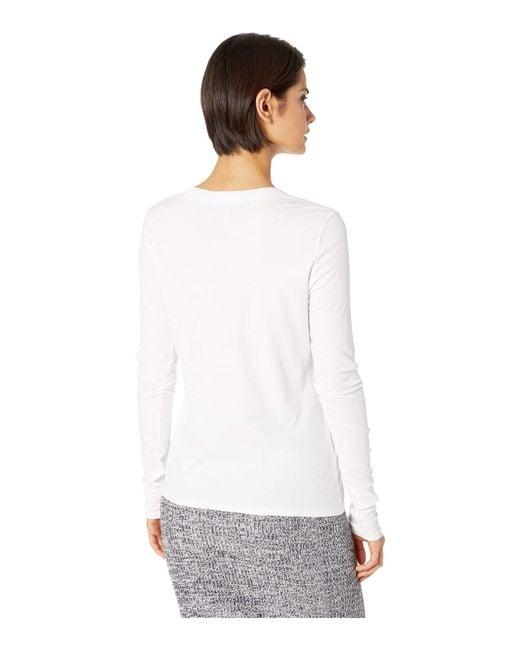 0d03bac6 ... Lamade - White Long Sleeve V-neck In Tissue Jersey (black) Women's Long  ...