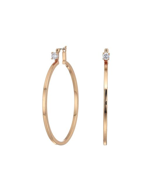 Vince Camuto - Metallic Rose Gold With Cubic Zirconia Stud Hoop Earrings (rose Gold) Earring - Lyst