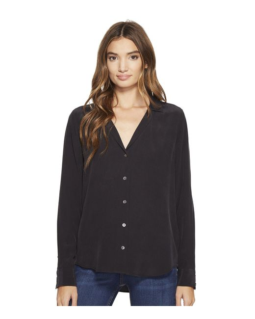 Equipment - Adalyn V-neck Button Up Solid (true Black) Women's Blouse - Lyst