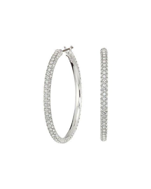 Swarovski - Multicolor Stone Hoop Pierced Earrings (rhodium Plating/white) Earring - Lyst