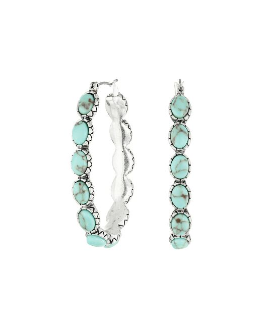 Lucky Brand - Blue Oblong Turquoise Inlay Hoop Earring (turquoise) Earring - Lyst