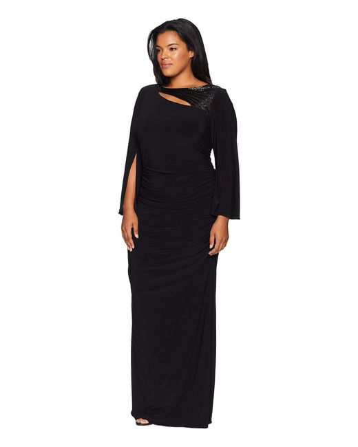 b9631494446 ... Adrianna Papell - Plus Size Long Sleeve Stretch Jersey Gown With Slit  Sleeve And Beaded Neckline ...