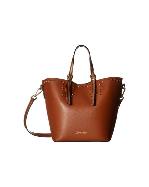 Calvin Klein - Brown Novelty Studded Small Tote (black/gold) Tote Handbags - Lyst