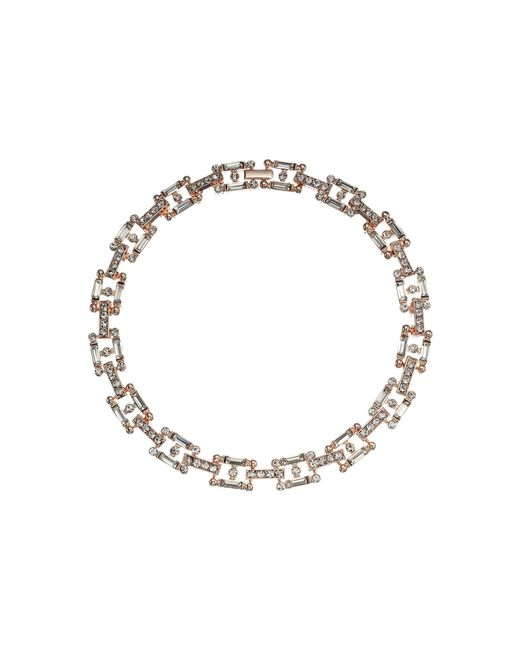 Steve Madden - Metallic Square Link Bedazzled Necklace (rose Gold) Necklace - Lyst