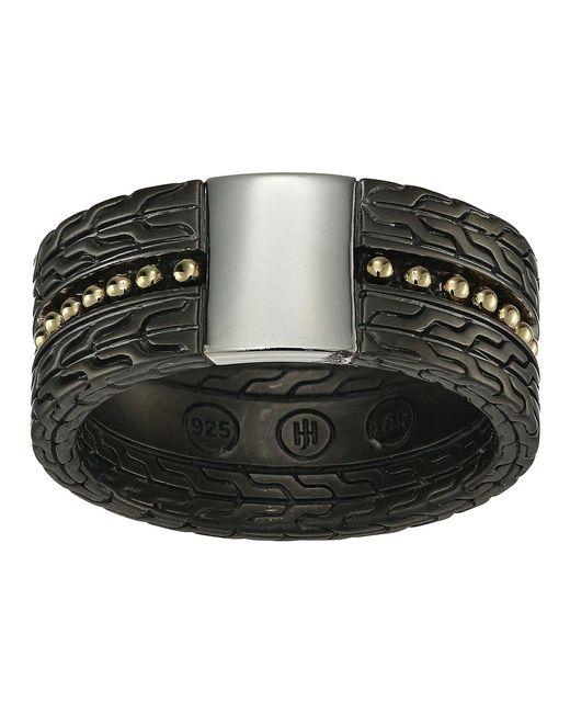 John Hardy - Metallic Chain Jawan 10mm Blackened Band Ring (blackened Silver/18k Gold) Ring for Men - Lyst