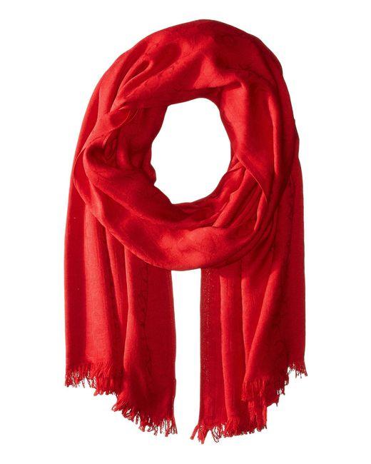 Calvin Klein - Red Ck Logo 2 In 1 Pashmina Wrap Scarf (eggshell) Scarves - Lyst