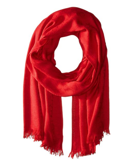Calvin Klein - Red Ck Logo 2 In 1 Pashmina Wrap Scarf (navy) Scarves - Lyst
