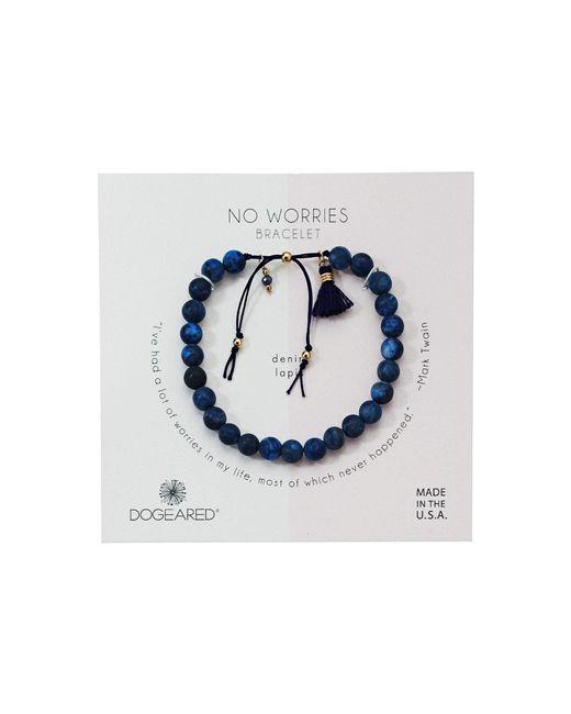Dogeared - Blue No Worries Bracelet, Matte Denim Lapis Bead Stone Bracelet With Nylon Pull Cord (gold Dipped) Bracelet - Lyst