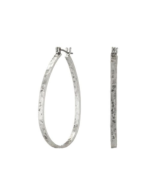 Lucky Brand - Metallic Textured Medium Oblong Hoops - Lyst