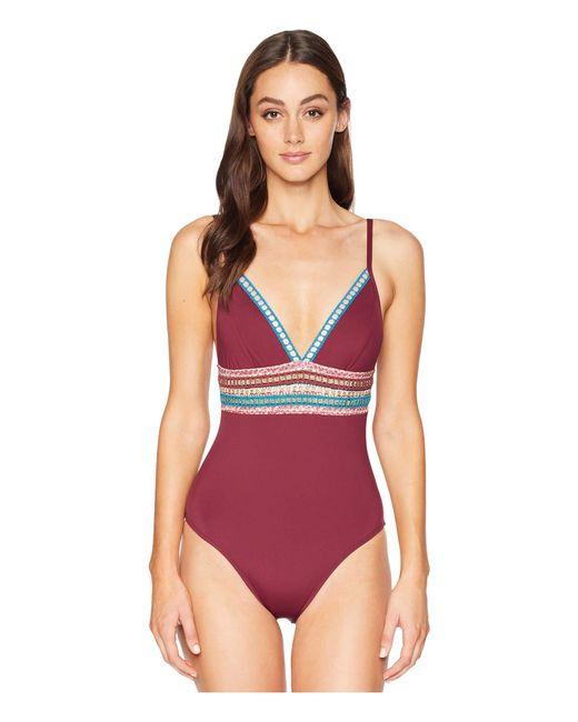 e357f5a11eece La Blanca - Multicolor Running Stitch Over The Shoulder Mio One-piece  Swimsuit (black ...
