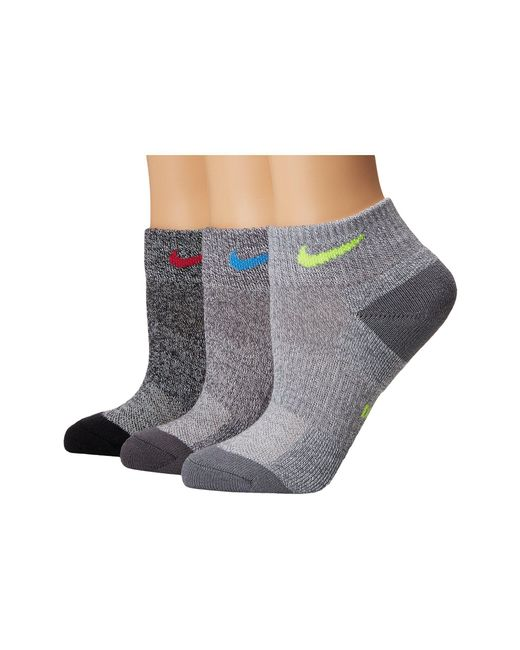 Nike - Gray Performance Cushioned Mesh Quarter Training Socks 3-pair Pack (multicolor 3) Women's Quarter Length Socks Shoes - Lyst