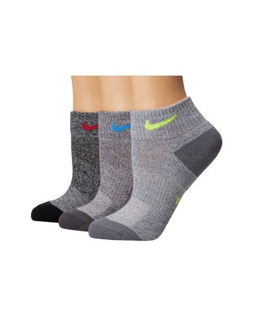Nike - Gray Performance Cushioned Mesh Quarter Training Socks 3-pair Pack - Lyst