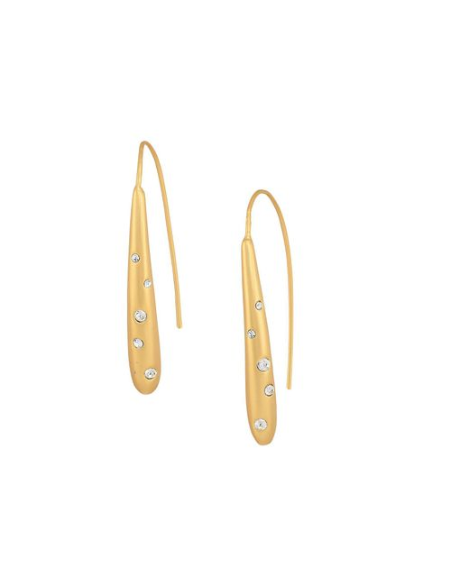 Cole Haan - Metallic Teardrop With Embedded Crystal Stones On Wire Earrings (gold Matte Plating/clear Crystal Stones) Earring - Lyst