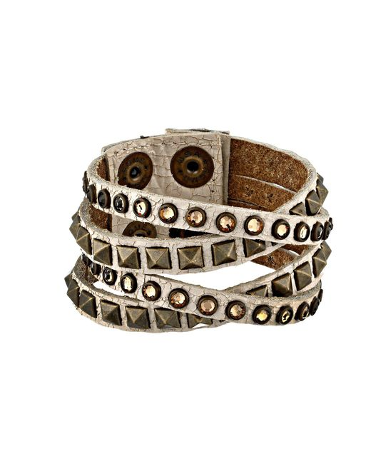 Leatherock - Brown B340 (cracked White) Bracelet - Lyst