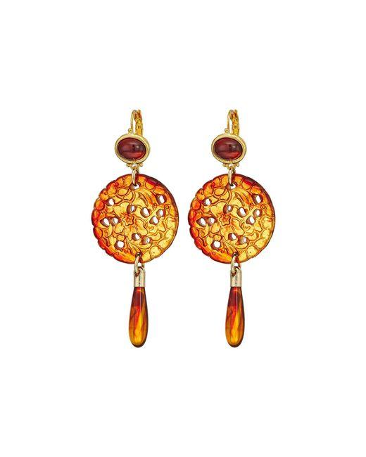Kenneth Jay Lane - Multicolor Small Gold Tortoise Top/craved Tortoise/tortoise Drop Wire Earrings (tortoise) Earring - Lyst