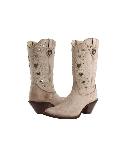 Durango - Natural Crush Heart (light Taupe) Cowboy Boots - Lyst
