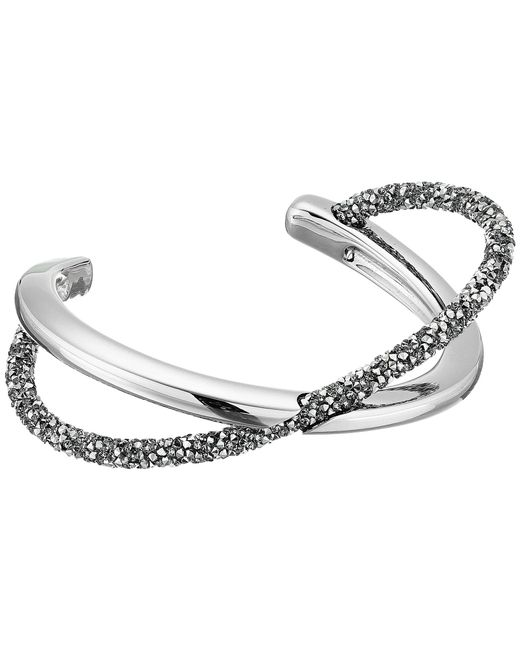 Swarovski - Gray Crystaldust Cross Cuff Bracelet (gold) Bracelet - Lyst