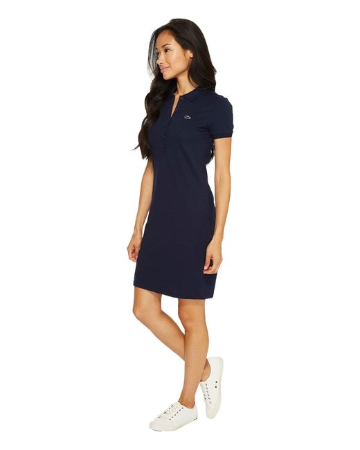 06f60b541968a4 ... Lyst Lacoste - Blue Short Sleeve Pique Polo Dress (calypso) Women s  Dress ...