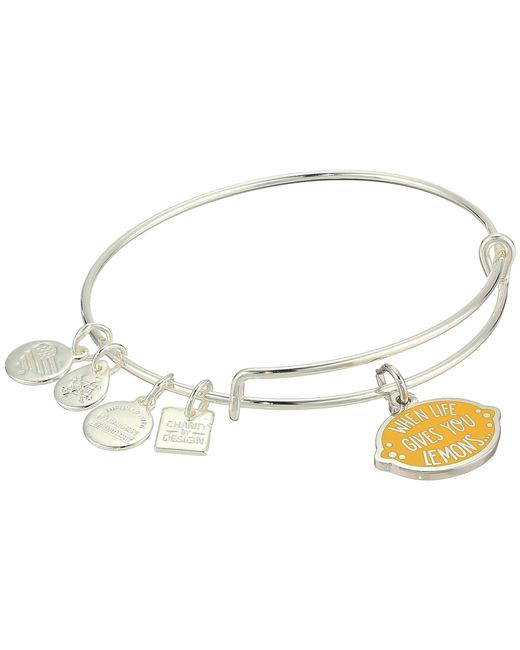 ALEX AND ANI - Metallic Charity By Design When Life Gives You Lemons Bangle (shiny Silver) Bracelet - Lyst