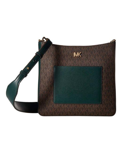 46bd2fd4bb MICHAEL Michael Kors - Green Gloria Pocket Swing Pack (brown black) Cross  Body ...