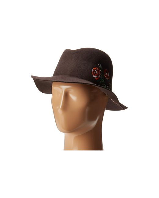 ab27a8bb San Diego Hat Company - Wfh8051 Floppy Round Crown With Floral Embroidery  (brown) Caps ...