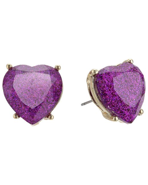 Betsey Johnson - Purple Sparkle Heart Stud Earrings - Lyst