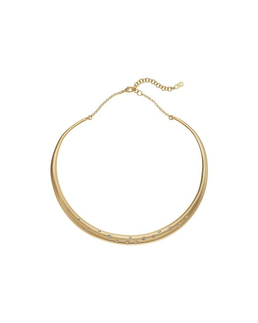 Cole Haan - Metallic Tapered Collar Necklace With Emedded Crystal Stones (gold Matte Plating/clear Crystal Stones) Necklace - Lyst