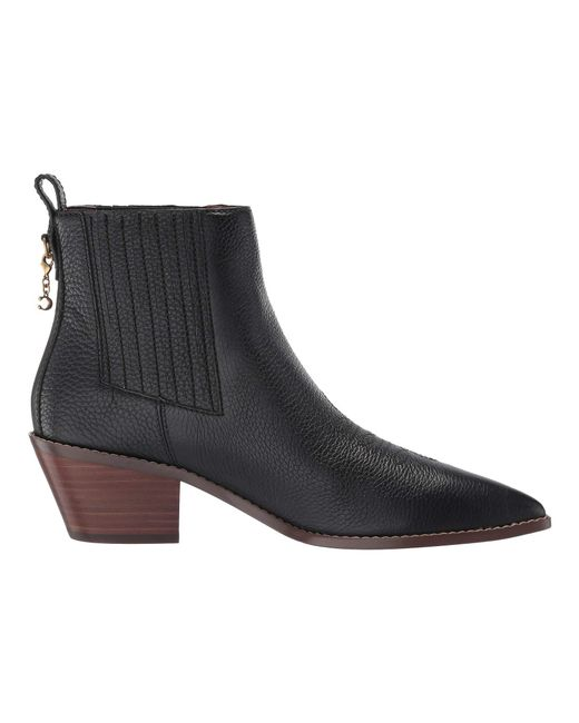 143273a6f9c73 ... Lyst COACH - Melody Western Stitch Bootie (black Leather) Women s Boots  ...