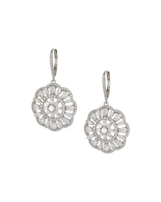 Nina - Multicolor Sunburst Lever Back Earrings (palladium/white Cz) Earring - Lyst