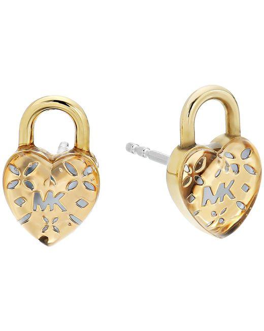 Michael Kors - Metallic Love Logo Heart Lock Stud Earrings (gold) Earring - Lyst