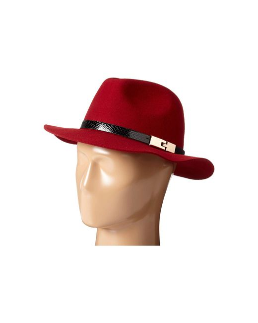 San Diego Hat Company | Red Wfh7968 Adjustable Fedora With A Gold Buckle | Lyst