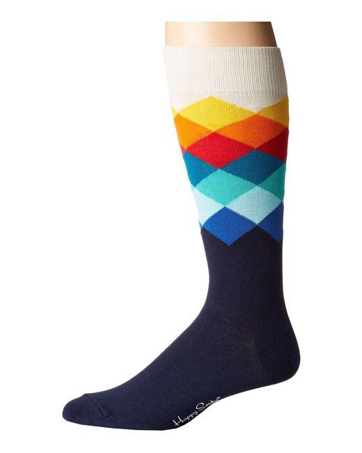 Happy Socks - Blue Faded Diamond Socks (navy Combo) Men's Crew Cut Socks Shoes for Men - Lyst