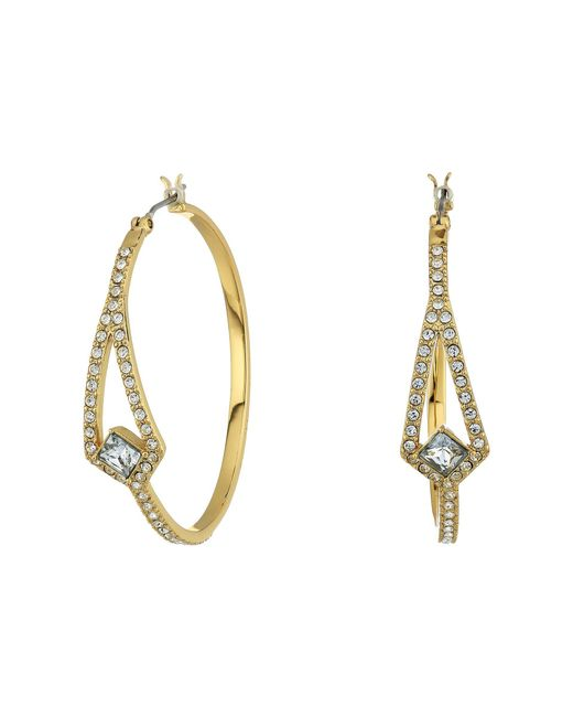 Vince Camuto - Metallic Crystal Pave Hoop Earrings (silver) Earring - Lyst